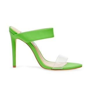 Steve Madden Amaya Lime Green Strappy Pointy Mules